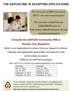 Microsoft Word - AAPCHO IRB flyer 051613.doc