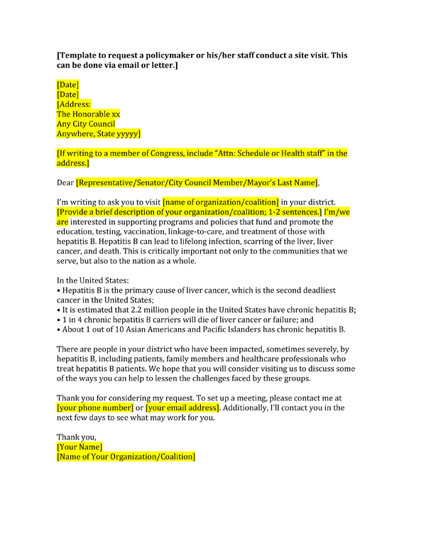 Template Letters To Discuss Hepatitis B With Policymaker AAPCHO - Letter to senator template